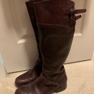 Aldo two tone dark brown riding boots- leather